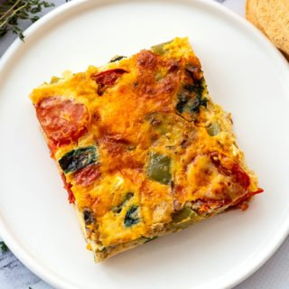 piece of loaded vegetable egg bake on a plate