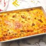 baking dish full of sausage crescent roll breakfast casserole